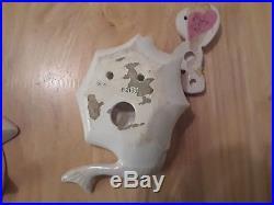 Vintage LEFTON Ceramic Mermaid with Unbrella and hearts Wall Plaque Figurine