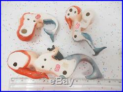 Vintage LEFTON Japan Mermaid Trio Wall Plaque Lustre Purple Redhead Ceramic LOT
