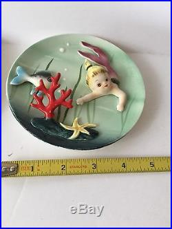 Vintage LEFTON MERMAID Baby Wall Plaques Hanging Set
