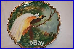 Vintage LS&S Austria Large Bird Charger Wall Plate Plaque/Artist Signed