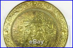 Vintage Large Embossed Brass Pub Scene Wall Plaque Charger Plate Playing Chess