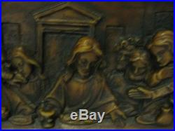 Vintage Large Gunter Kerzen Carved Candle Wax Wall Plaque Lords last Supper RARE
