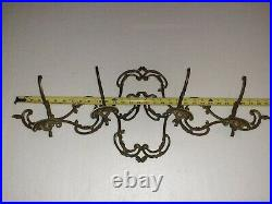 Vintage Large Heavy solid Brass frech Coat Rack To Hang On Wall 4 Hooks