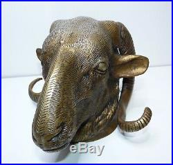 Vintage, Large Solid Bronze Brass Rams Head Sculpture Wall Hanging