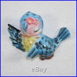 Vintage Lefton Anthropomorphic ESD Bluebird Wall Pocket Plaque Eyes Closed