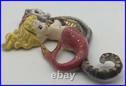Vintage Lefton Blonde Mermaid Riding Seahorse 528 Wall Hanging Plaque D5