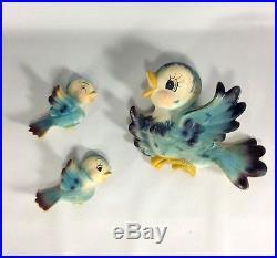 Vintage Lefton Blue Bird 2 Babies Rare Left Facing Wall Plaques Japan Marked