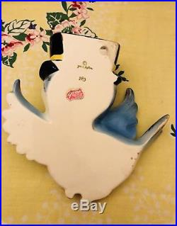 Vintage Lefton Bluebird Wall Plaque Pocket