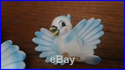 Vintage Lefton Bluebird ceramic mother bird and babies wall plaque