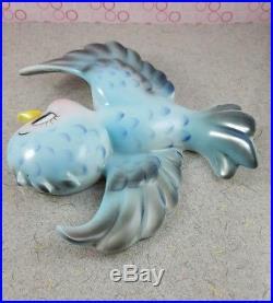 Vintage Lefton Bluebirds 3pc Ceramic Flying Blue Bird Wall Plaque Hanging Set