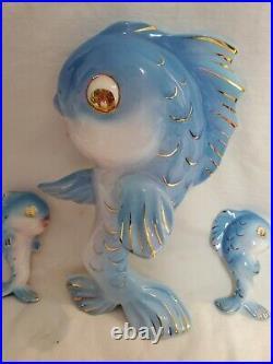 Vintage Lefton Ceramic Fish Family Wall Plaque Bath Decor