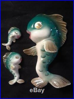 Vintage Lefton Ceramic Fish Family Wall Plaque Figurine