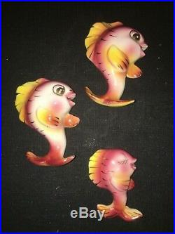 Vintage Lefton Ceramic Fish Wall Plaque Pocket Family For Mermaid Bath Decor