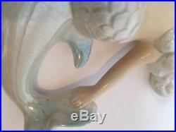 Vintage Lefton Ceramic Mermaid Dolphin Wall Plaque Iridescent # 6445 Set Of 2