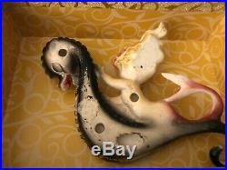 Vintage Lefton Ceramic Mermaid Riding Seahorse Wall Plaque Figurine