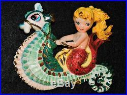 Vintage Lefton Ceramic Mermaid Riding Seahorse Wall Plaque Figurine Bath Decor