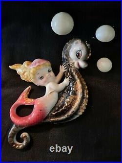 Vintage Lefton Ceramic Mermaid Riding Seahorse With3 bubbles Wall Plaque Figurine
