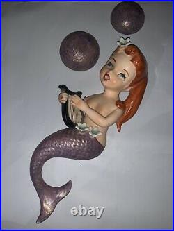 Vintage Lefton Ceramic Mermaid With Two Bubbles Wall Plaque Figurine