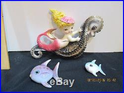 Vintage Lefton Ceramic Mermaid on Seahorse with Fish Wall Plaques