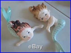 Vintage Lefton Ceramic Mermaid wall Plaque Figurine 1950's