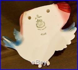 Vintage Lefton ESD Bluebird Wall Pocket Plaque Blue Bird Anthropomorphic #6917
