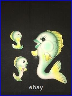 Vintage Lefton Fish Plaque Pocket Set For Retro Ceramic Mermaid Wall Bath Decor