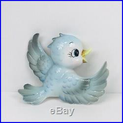 Vintage Lefton Mama Bluebird Blue Bird Wall Cermaic Plaque Pocket Figurine