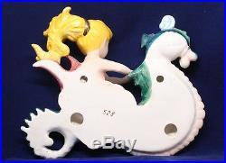 Vintage Lefton Mermaid Riding Seahorse Ceramic Porcelain Wall Plaque Rare