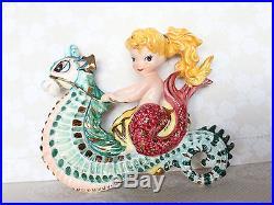 Vintage Lefton Mermaid Riding Seahorse Wall Plaque Figurine