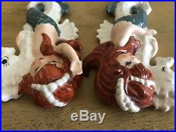 Vintage Lefton Mermaid Sisters Wall Plaques Red Hair Blue Eyes Green Tails
