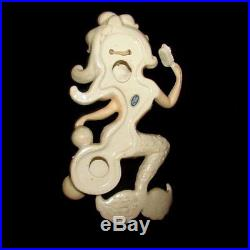 Vintage Lefton Mermaid on Bubbles Holding Brush Wall Plaque Hanging w Starfish