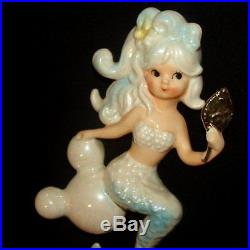 Vintage Lefton Mermaid on Bubbles Holding Mirror Wall Plaque Hanging w Starfish