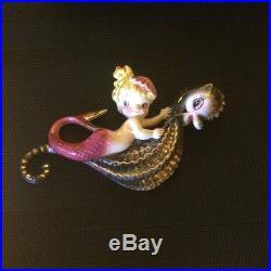 Vintage Lefton Mermaid on Seahorse Wall Plaque/ MINT