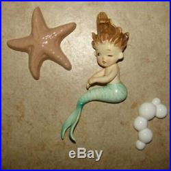 Vintage Lefton Mermaid with Starfish and Bubbles Wall Plaque Hanging
