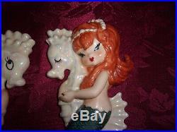 Vintage Lefton Mermaids on Seahorses wall plaques bathroom decor #3158 pair EUC