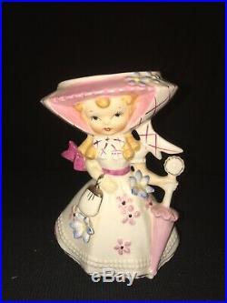 Vintage Lefton Miss Dainty Rare Wall Pocket Plaque Girl Lady Retro Ceramic Vase