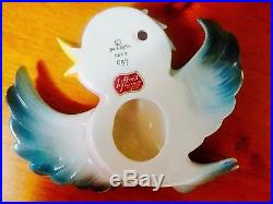 Vintage Lefton Momma Blue Bird & 1 Baby Wall plaques Anthromorphic 50s 60s
