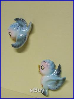 Vintage Lefton Momma Blue Bird & 2 Babies Wall plaques (Japan/ESD/#057)