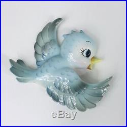 Vintage Lefton Momma Bluebird Blue Bird Wall Cermaic Plaque Pocket Figurine