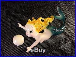 Vintage Lefton PY Ceramic Mermaid Wall Plaque. MINT