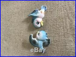 Vintage Lefton Pair of Baby Bluebird Wall Plaques 1957 Excellent