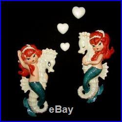 Vintage Lefton Red Headed Mermaids on Seahorse Wall plaque Hangings