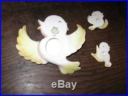 Vintage Lefton Wall Plaques Set Mother & 2 Babies Yellow Birds ESD Japan 057