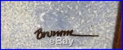 Vintage Lg Norman Brumm Framed Enamel Wall Plaque withBird