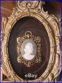 Vintage Limoge Cameos Wooden Framed Porcelain Wall Plaques