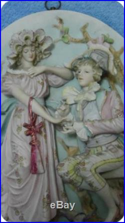 Vintage Lover Bisque 3D Wall Plaques Victorian Man & Woman Figurines Marked
