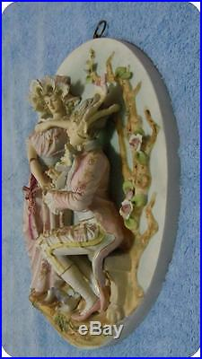 Vintage Lover Bisque 3D Wall Plaques Victorian Man & Woman ...