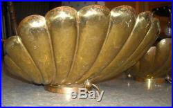 Vintage MCM 1960s MATCHING PR ITALIAN BRASS SHELL WALL LAMPS HOLLYWOOD REGENCY