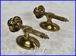 Vintage MCM Brass Wall Candle Holder Sconce Hand Holding Torchiere Jansen Style