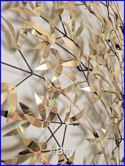 Vintage MCM Brutalist Metal Wall Art Sculpture Bamboo leaf Signed C. Jere
